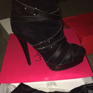 As New Wayne Cooper Platform Booties Heels Leather
