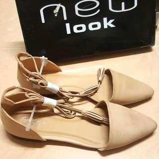 全新New Look Size 39/40 平底皮鞋Size 8 UK6 羅馬鞋流蘇綁繩nude色
