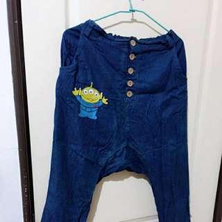 造型排扣三眼怪寬鬆顯瘦牛仔褲