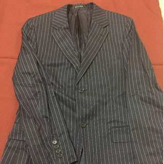 H&M Slim Fit Black coat with White Pin Stripe