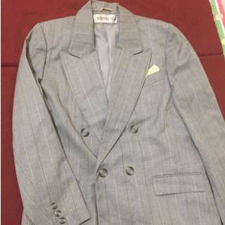 Weinberg Grey coat Pencil Stripe with Pocket Square.