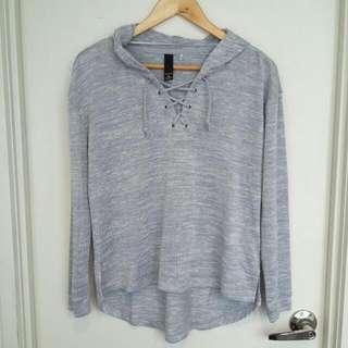 Factorie Grey Hooded Knit Sweatshirt- Size M