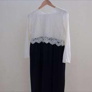 Dress Black N White Brokat