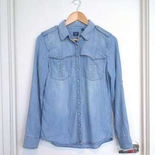GUESS Chambray Button-Up Shirt- Size S