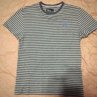 Fred Perry Grey Stripes T Shirt Tee