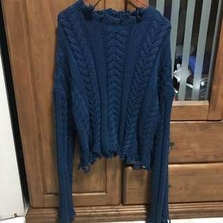 Knitted Frayed Sweater