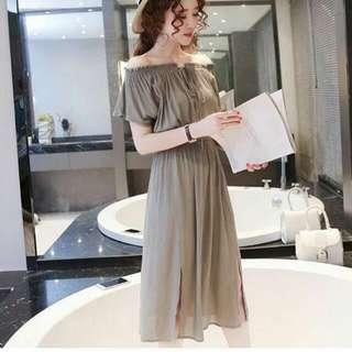 Korean Linen Cotton Mixed Off Shoulder Slit Dress