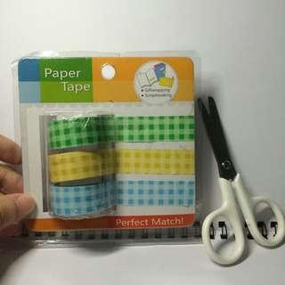 二手 格子 格紋 紙膠帶 三入一組 超值組