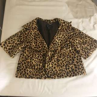 Mango Leopard Print Cropped Blazer US4 #dirty30