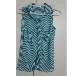 Green & White Stripes Sleeveless Blouse