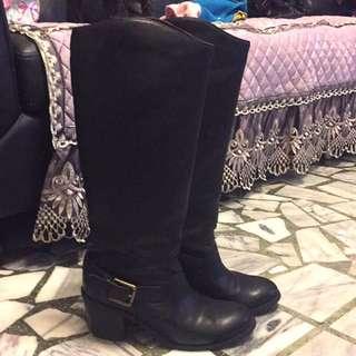 個性環扣超寬筒圍胖腿女孩長筒穩跟靴黑39號