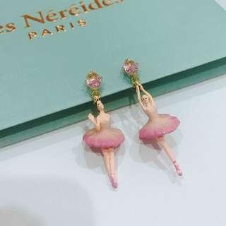 LES NÉRÉIDES 經典水鑽芭蕾舞夾式耳環