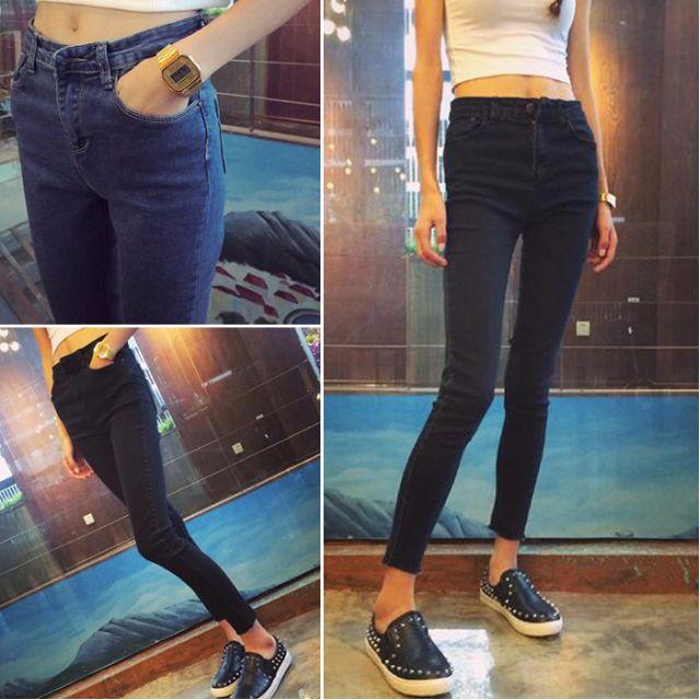 🔹2色 修身顯瘦牛仔褲女高腰小腳褲