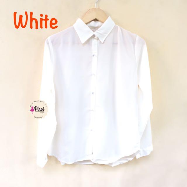 574 Kemeja Putih Polos / Kemeja Wanita / Kemeja Lengan Panjang, Olshop Fashion, Olshop Wanita on Carousell