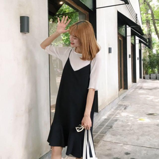 (近全新)黑色細肩帶魚尾洋裝