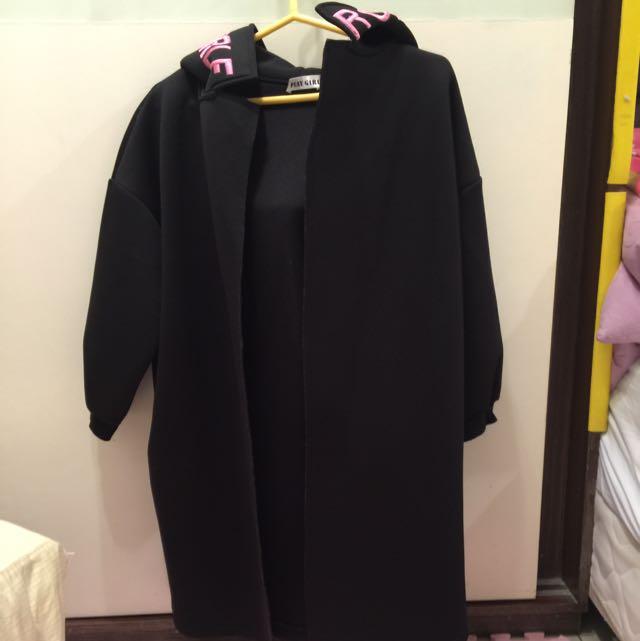 空氣棉長外套,九分袖