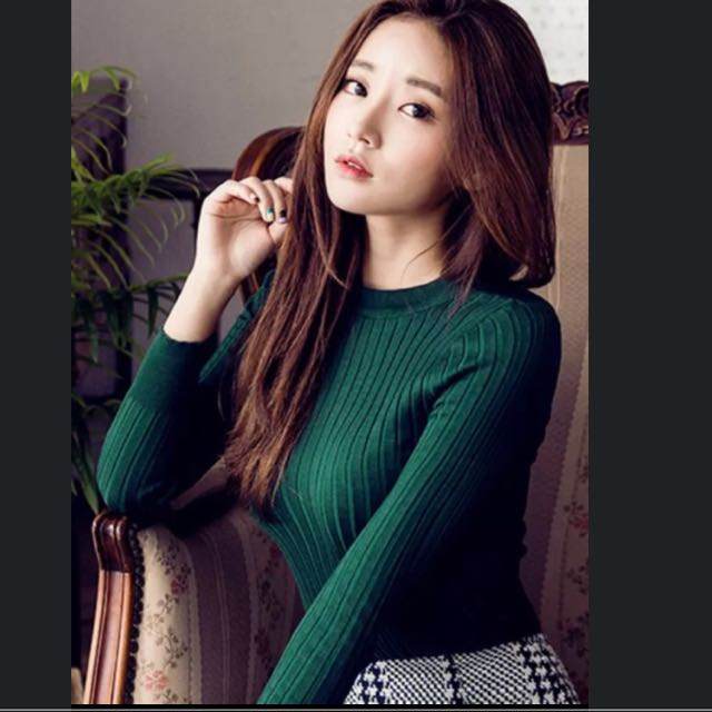 韓版半高領長袖針織直線條素色顯瘦百搭緊身貼身毛衣