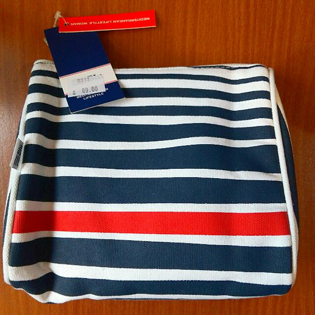 【全新/含運】紅藍條紋手拿包/化妝包 #運費我來出