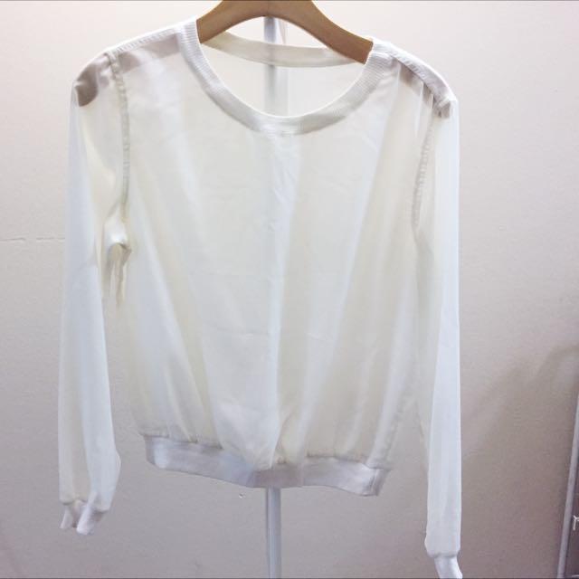 AA white see through blouse
