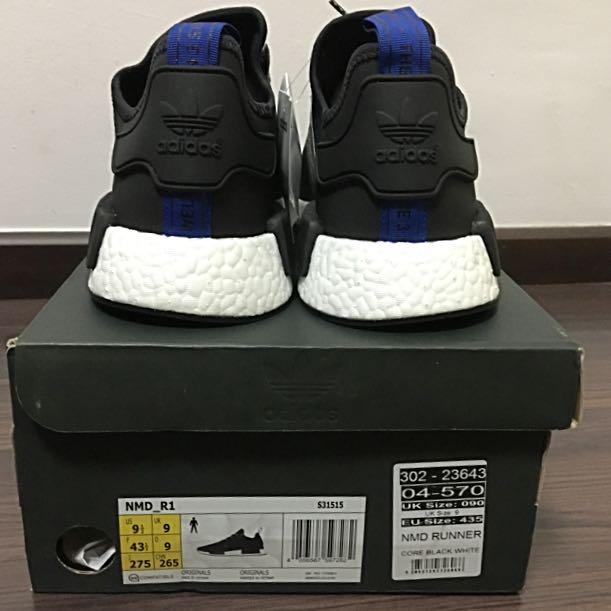 59eaca4e8 US9.5 Adidas NMD R1 Europe Exclusive Core Black Blue Tab