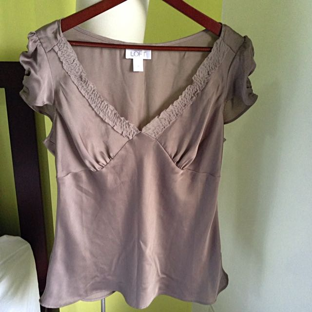Ann Taylor V-neck Satin Blouse