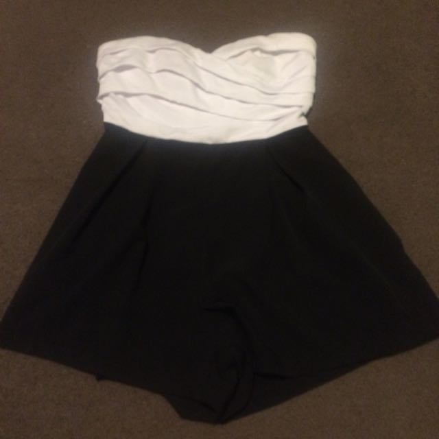 Black And White Strapless Play suit