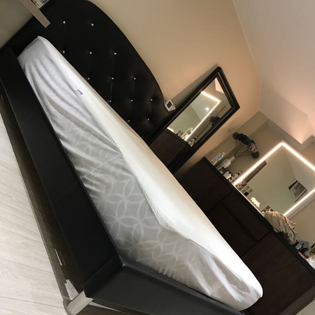 Black Queen Diamond Bed Frame