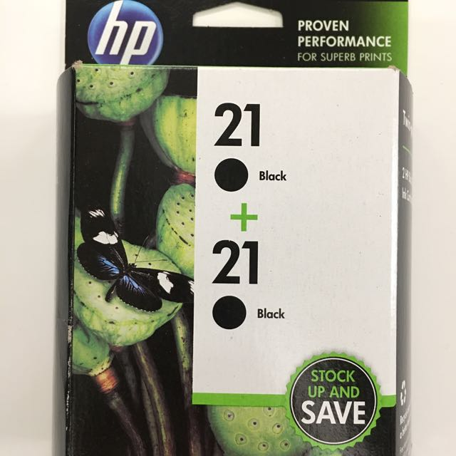 Brand New Sealed HP 21 Genuine OEM Black Ink 2-Pack Cartridges