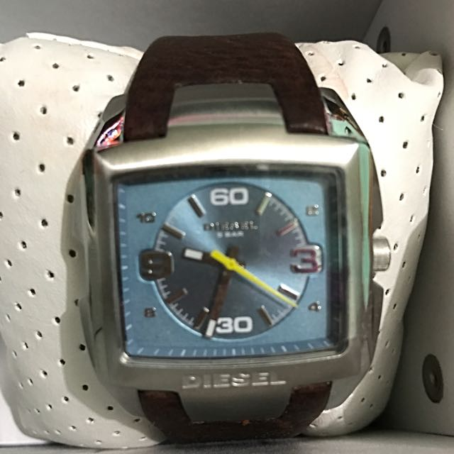 Diesel Leather Blue Face Watch