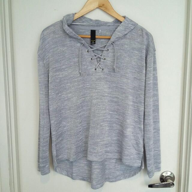 Factorie Grey Hooded Knit Sweatshirt- Size M
