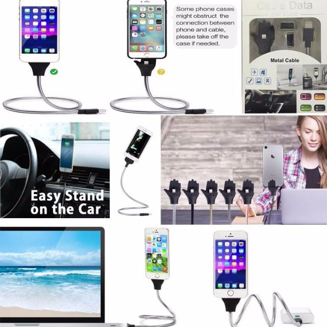 Flexible Metal Cable Phone Stand Holder for Lightning Micro Type-C
