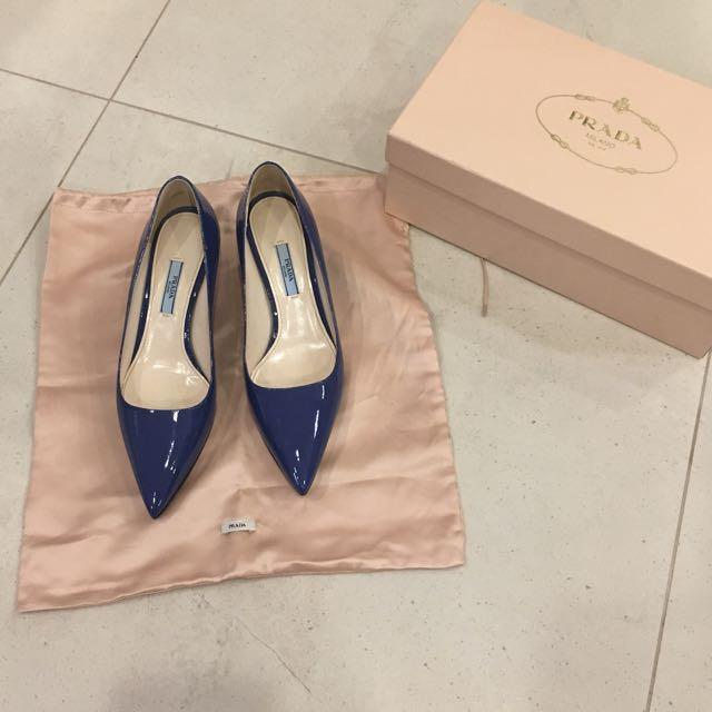 Genuine Prada cobalt Patent Heels (5cm High)