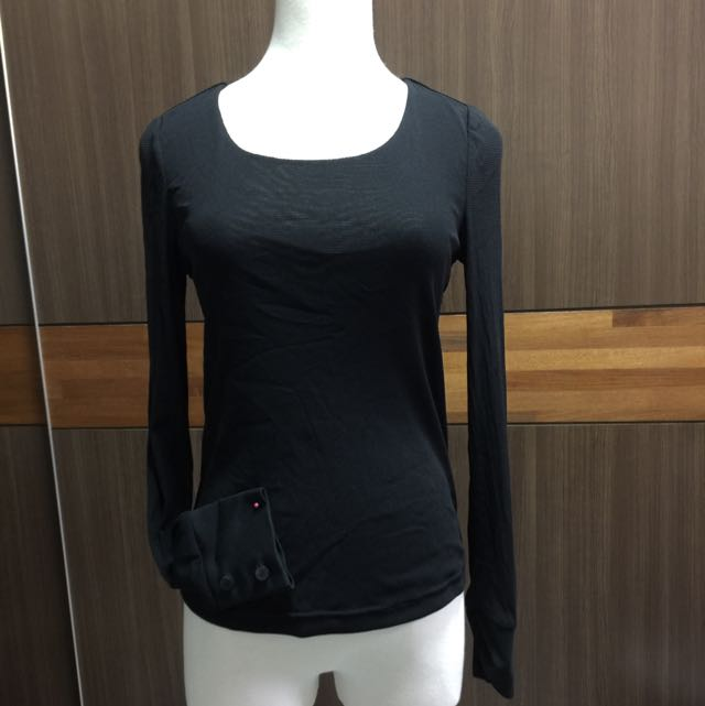 Giordano Ladies 黑色微透膚上衣