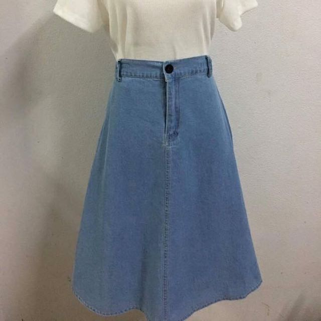 high waisted jean skirts