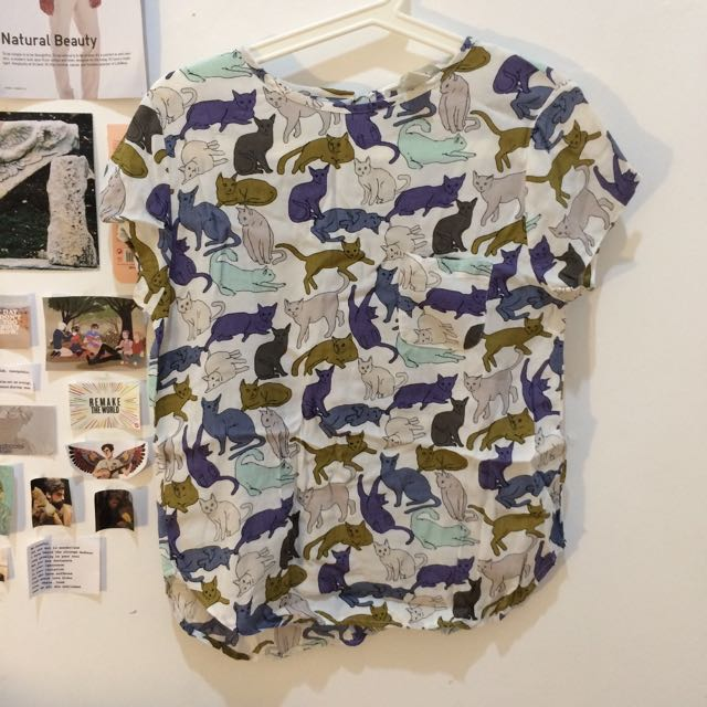 H&M Cat Print Top