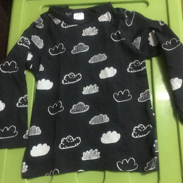 H&M Cloud Print Black Longsleeves For Baby/Toddler