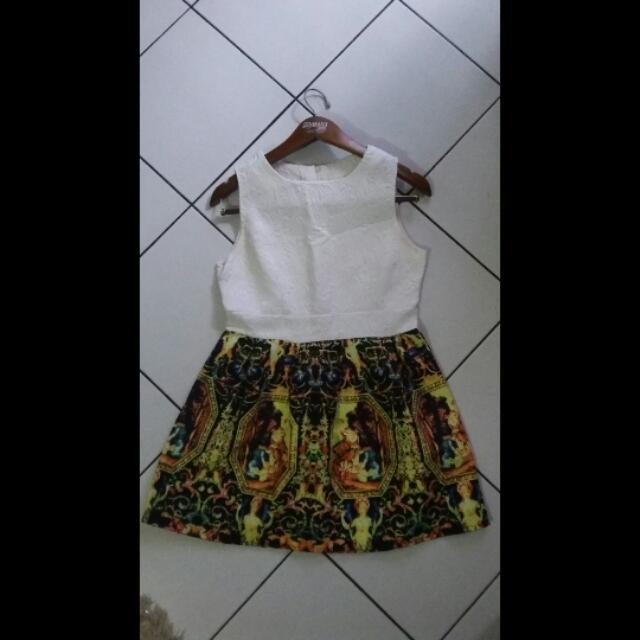 Mini Dress White Froral