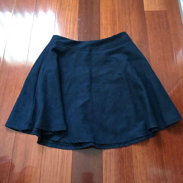 Navy Suede Skater Skirt