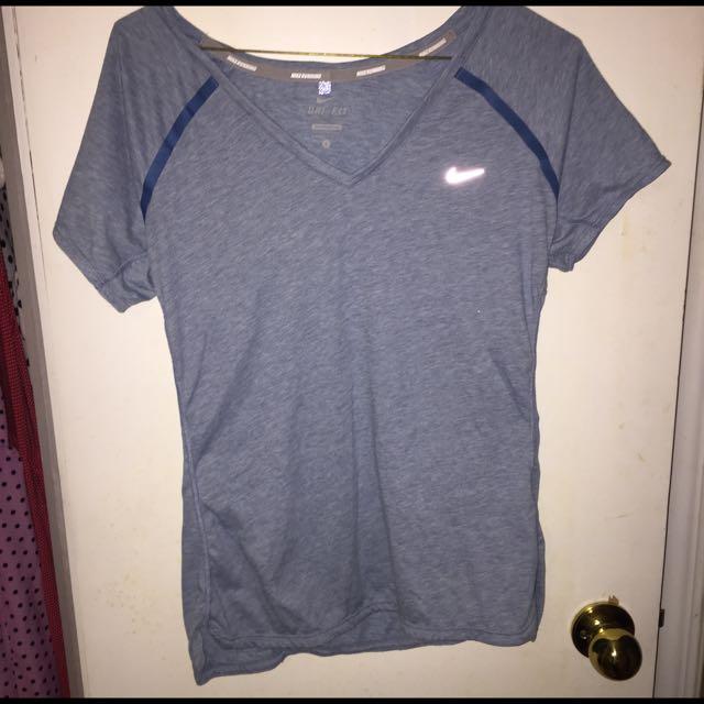 Nike V-neck Blue Shirt