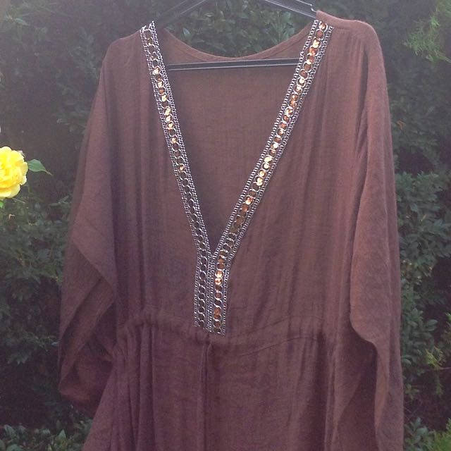 Plus Size Brown Top With Sequins