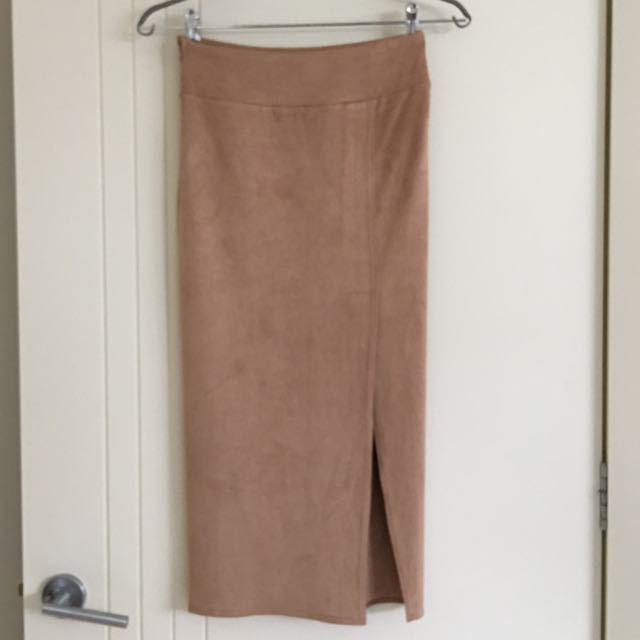 Sheik Camel Suede Stretchable Pencil Midi Skirt