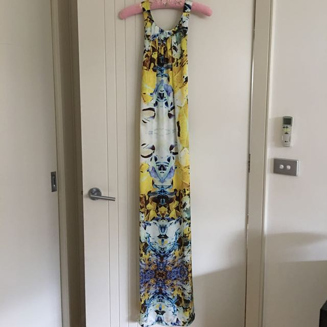 Sheik Yellow Floral Summer Cross Back Long Dress