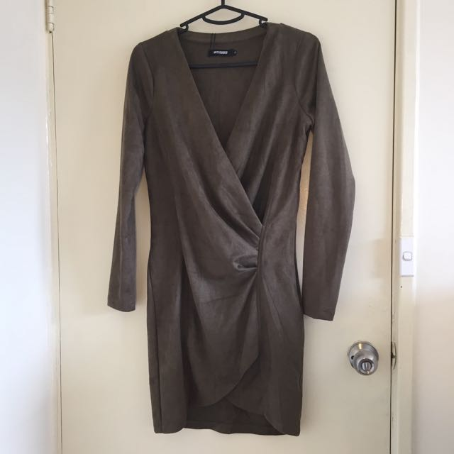 Size 10 olive green suede mini dress