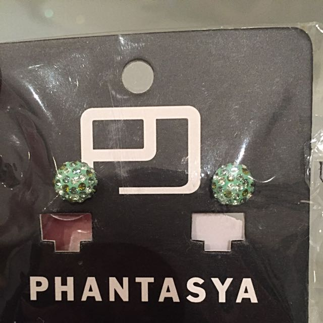 Small Button Earrings With  Swarovski Elements
