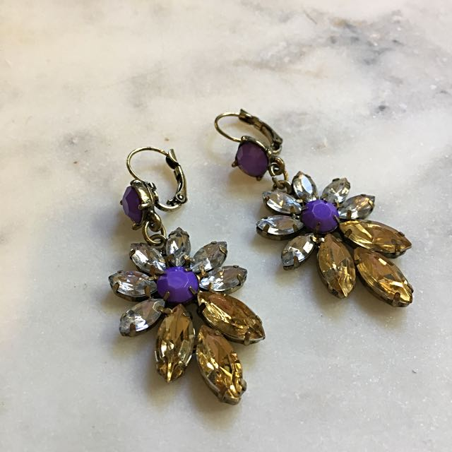 Statement Drop Earrings Purple & Cognac Crystals