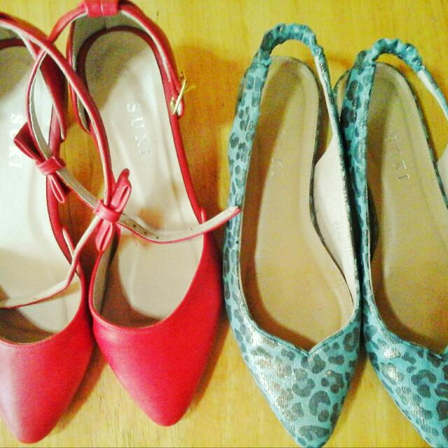 suki red formal shoes and camou everyday flats