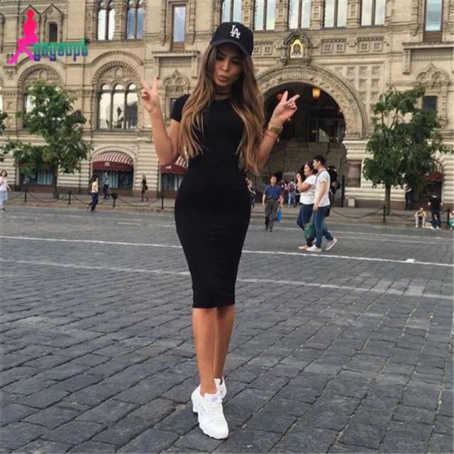 Te Amo歐美圓領長洋裝黑運動風街拍