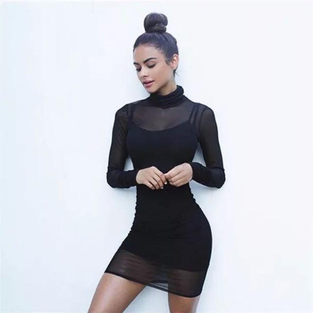 Te Amo歐美透視洋裝細肩帶黑高領合適性格