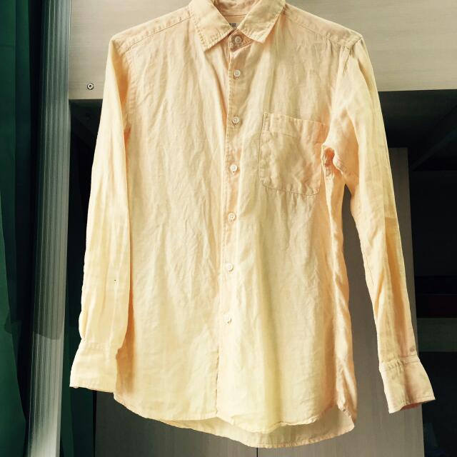 ⭐UNIQLO亞麻橘色襯衫⭐