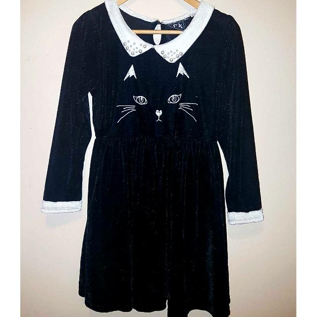 Women's Black Velvet Kitty Dress